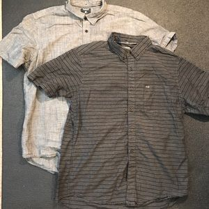 Mens Hurley Short Sleeve Button Down Shirts Large
